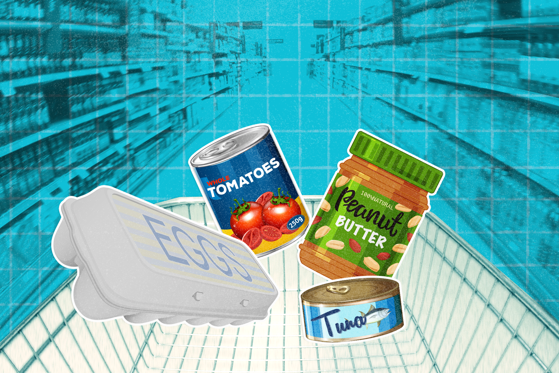 illustration of cheap healthy groceries on blue background