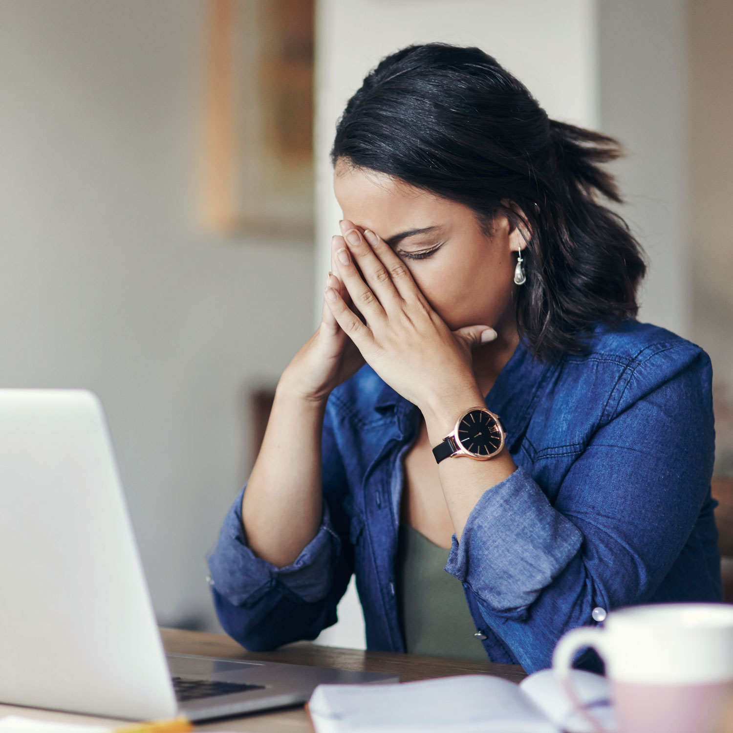 tired woman experiencing burnout and fatigue