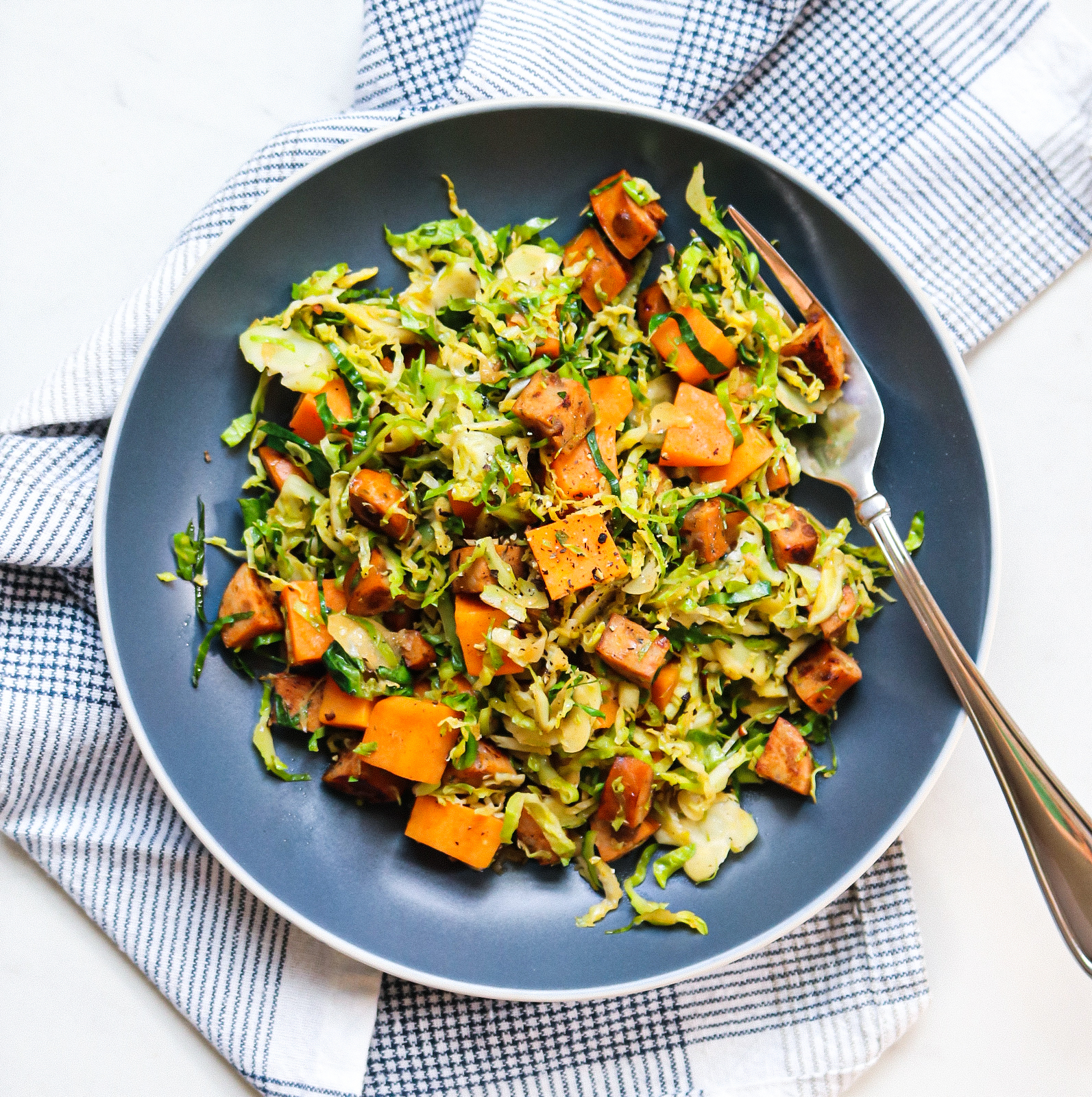 3-Ingredient Sweet Potato & Brussels Sprout Hash with Apple Chicken Sausage