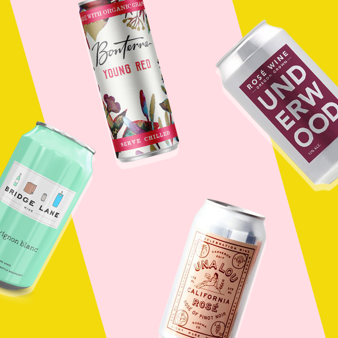 canned wines on a colorful background
