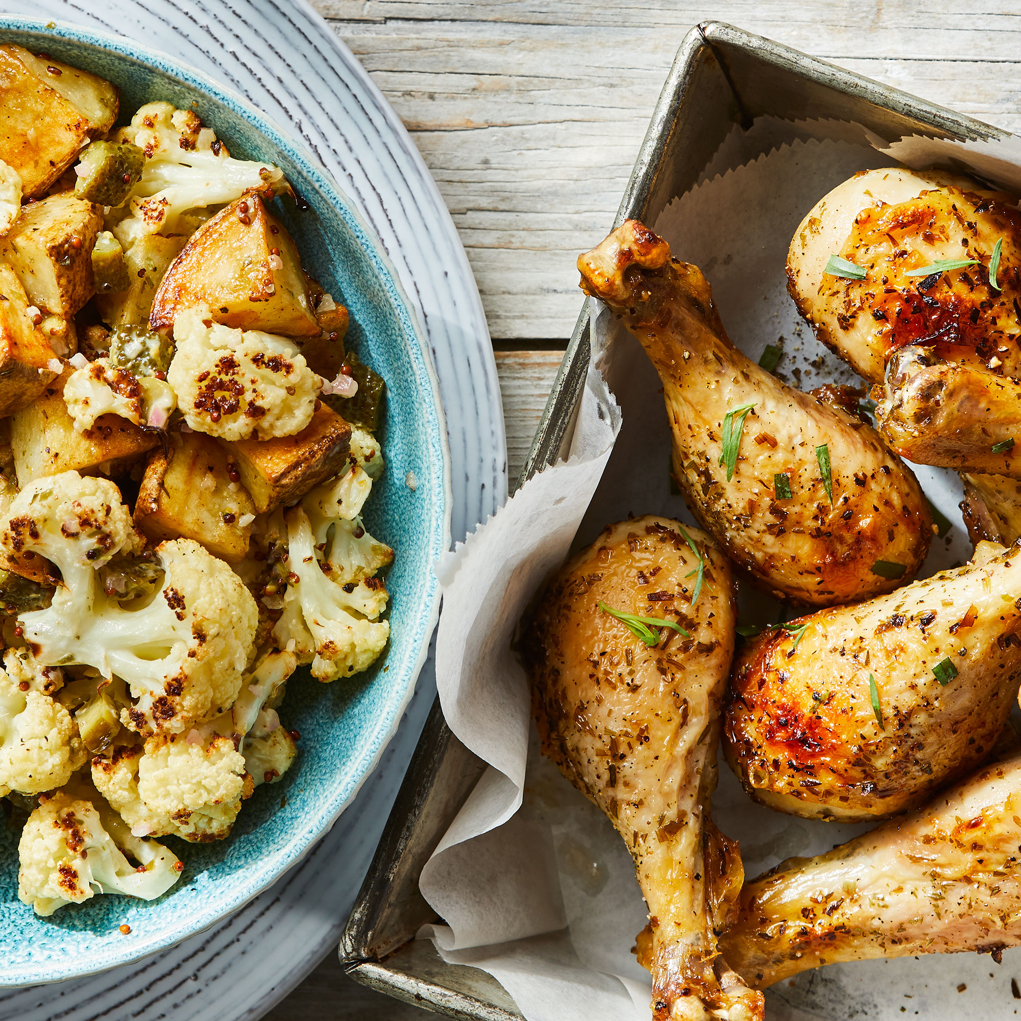 Baked Chicken Drumsticks with Roasted Cauliflower & Potato Salad