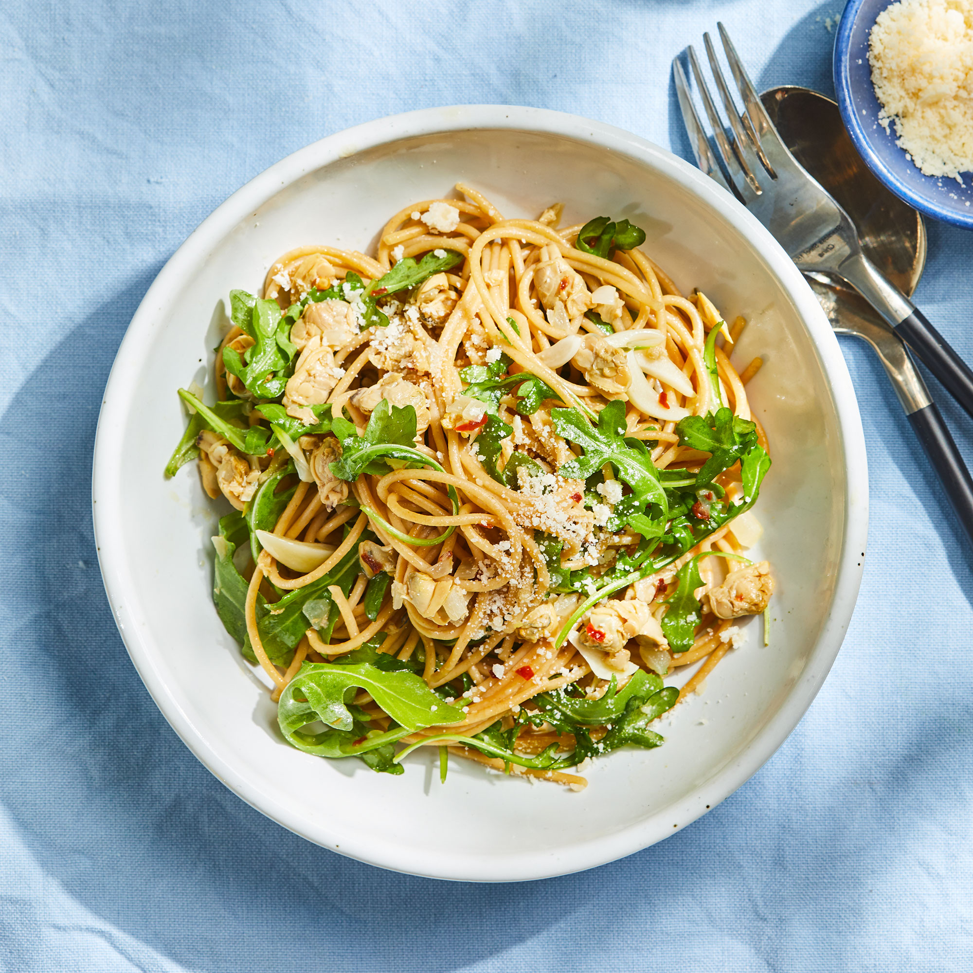 Spaghetti with Arugula & Clam Sauce