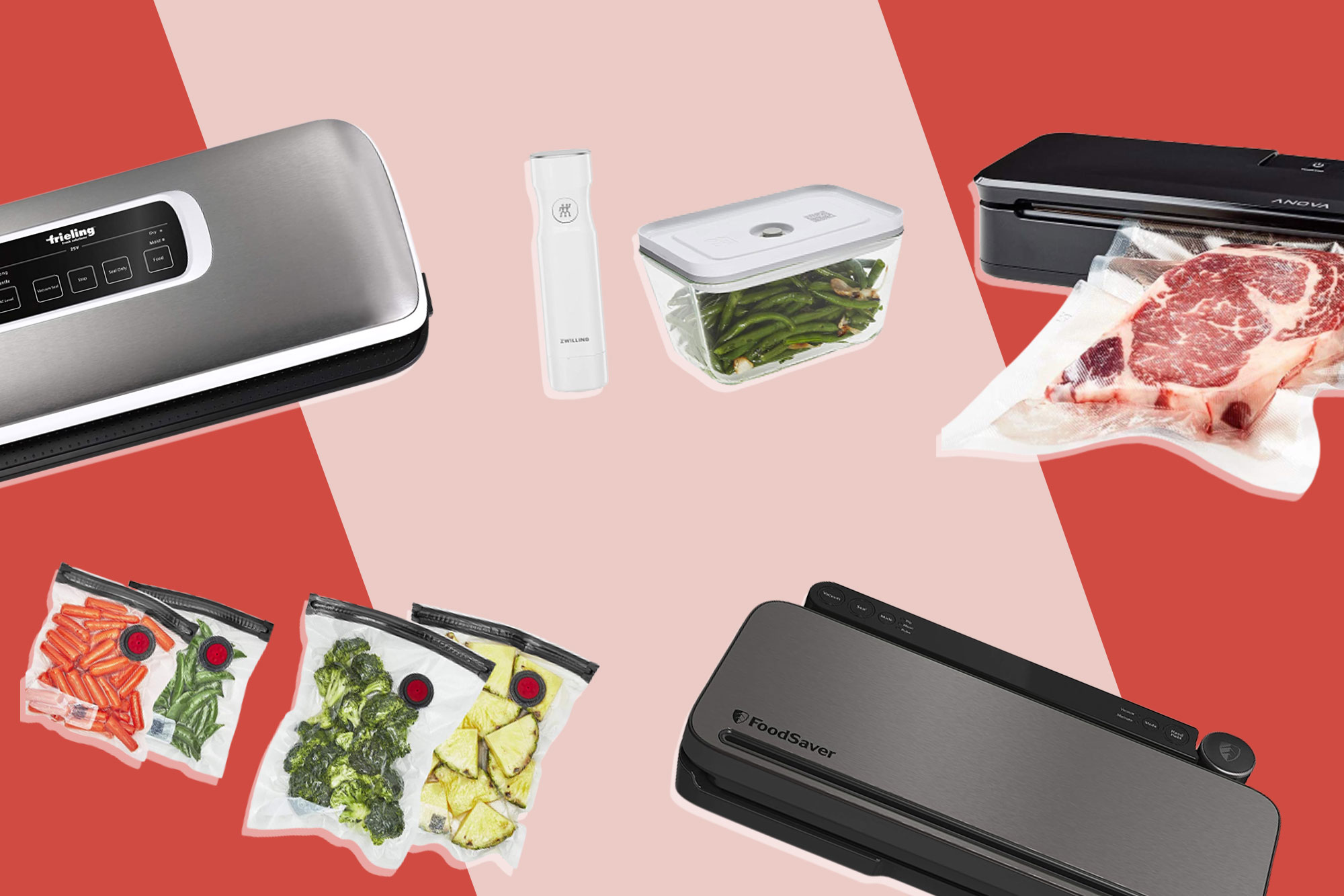 compilation of vacuum sealer machines, bags and containers