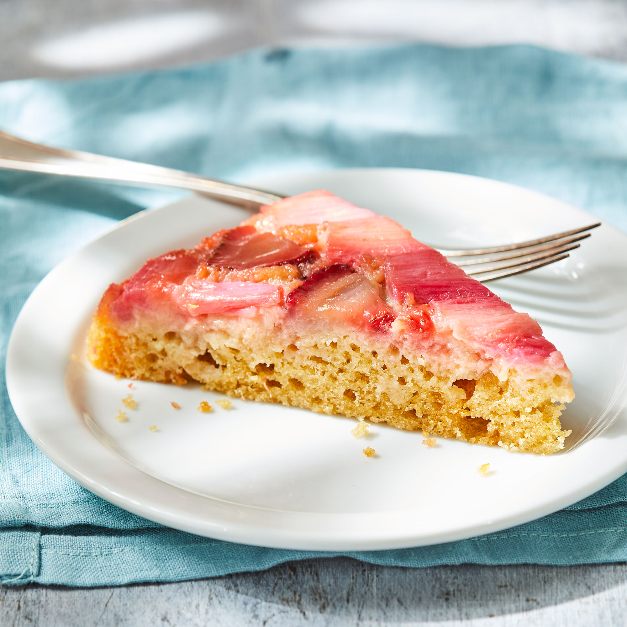 Strawberry-Rhubarb Upside-Down Cake with Yogurt