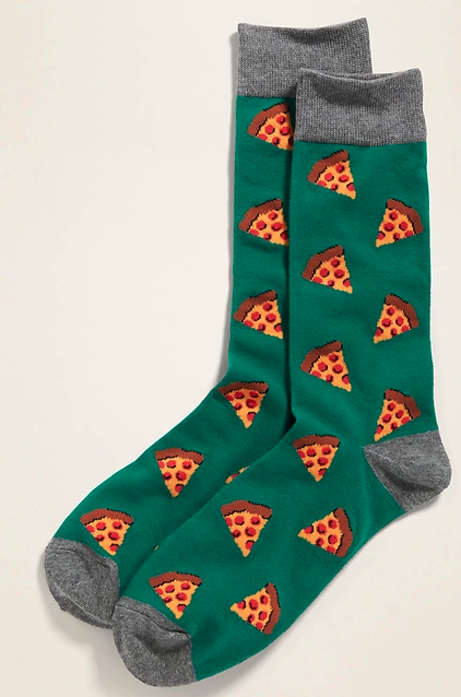 green socks with pizza slices