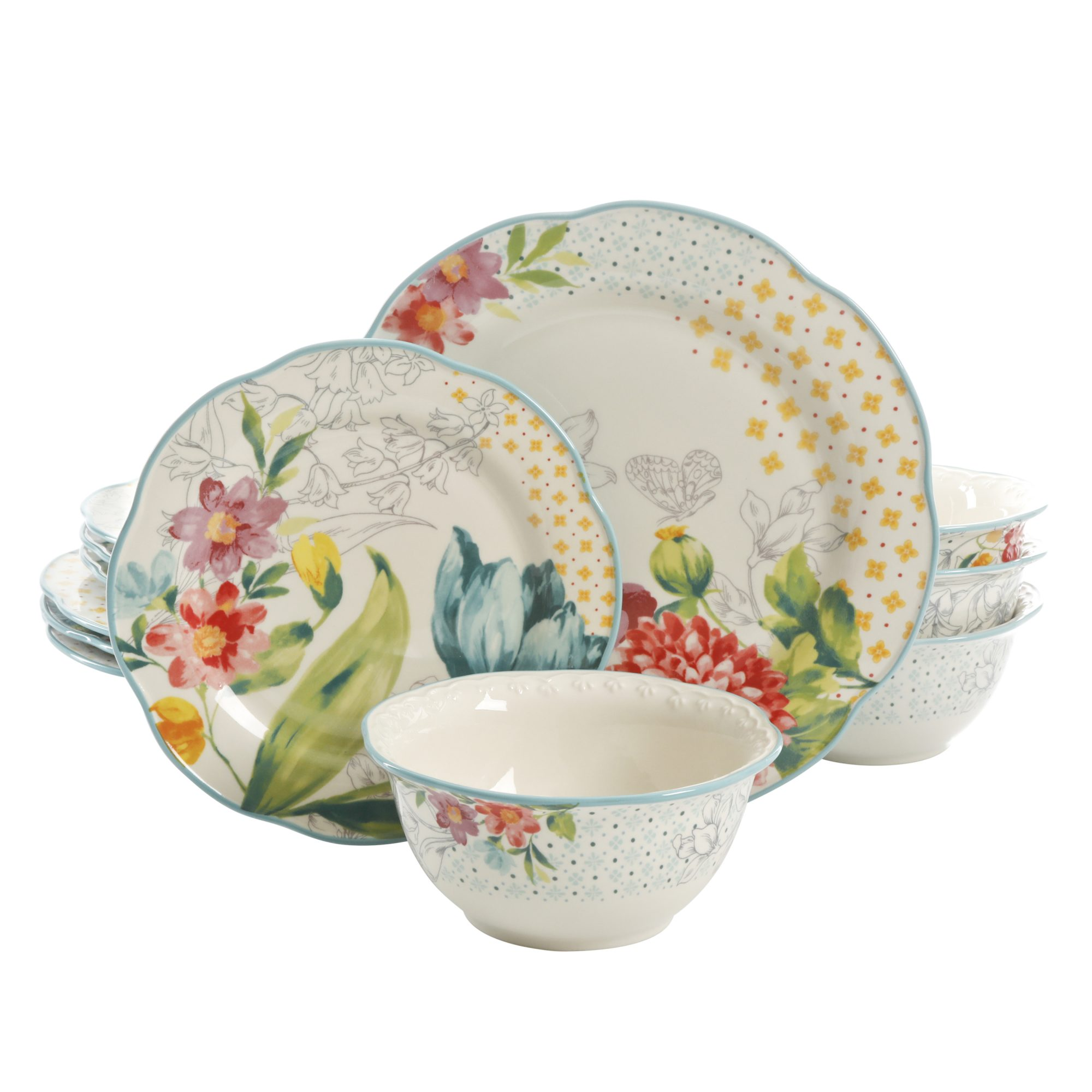 plates and bowls with a floral pattern