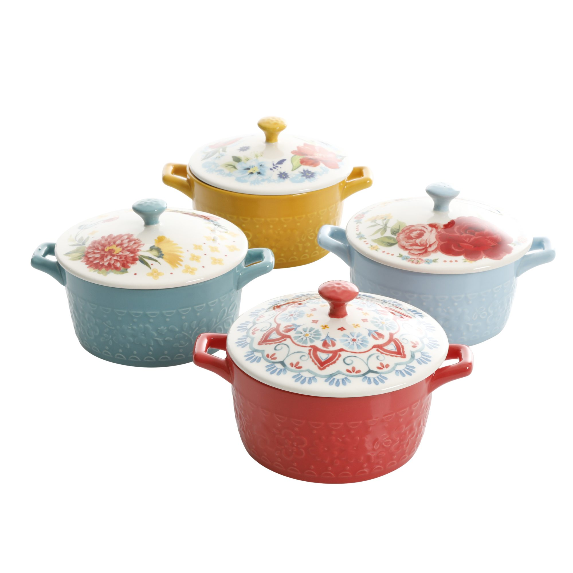 mini casserole dishes with a pattern lid