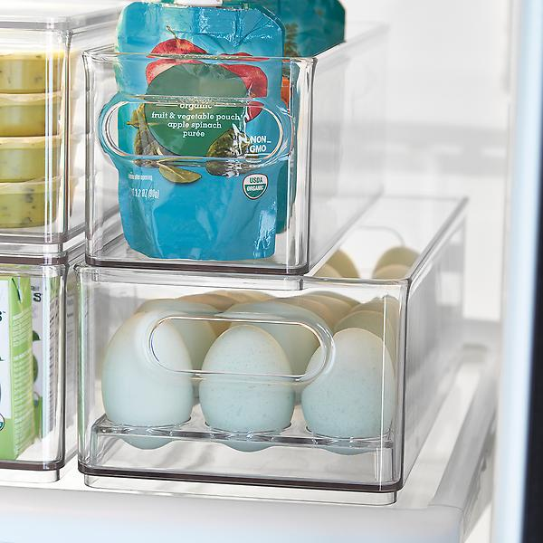 clear storage bin with eggs