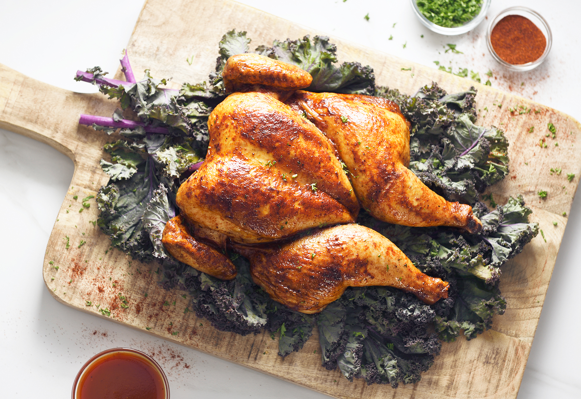 Rotisserie chicken on bed of Kale