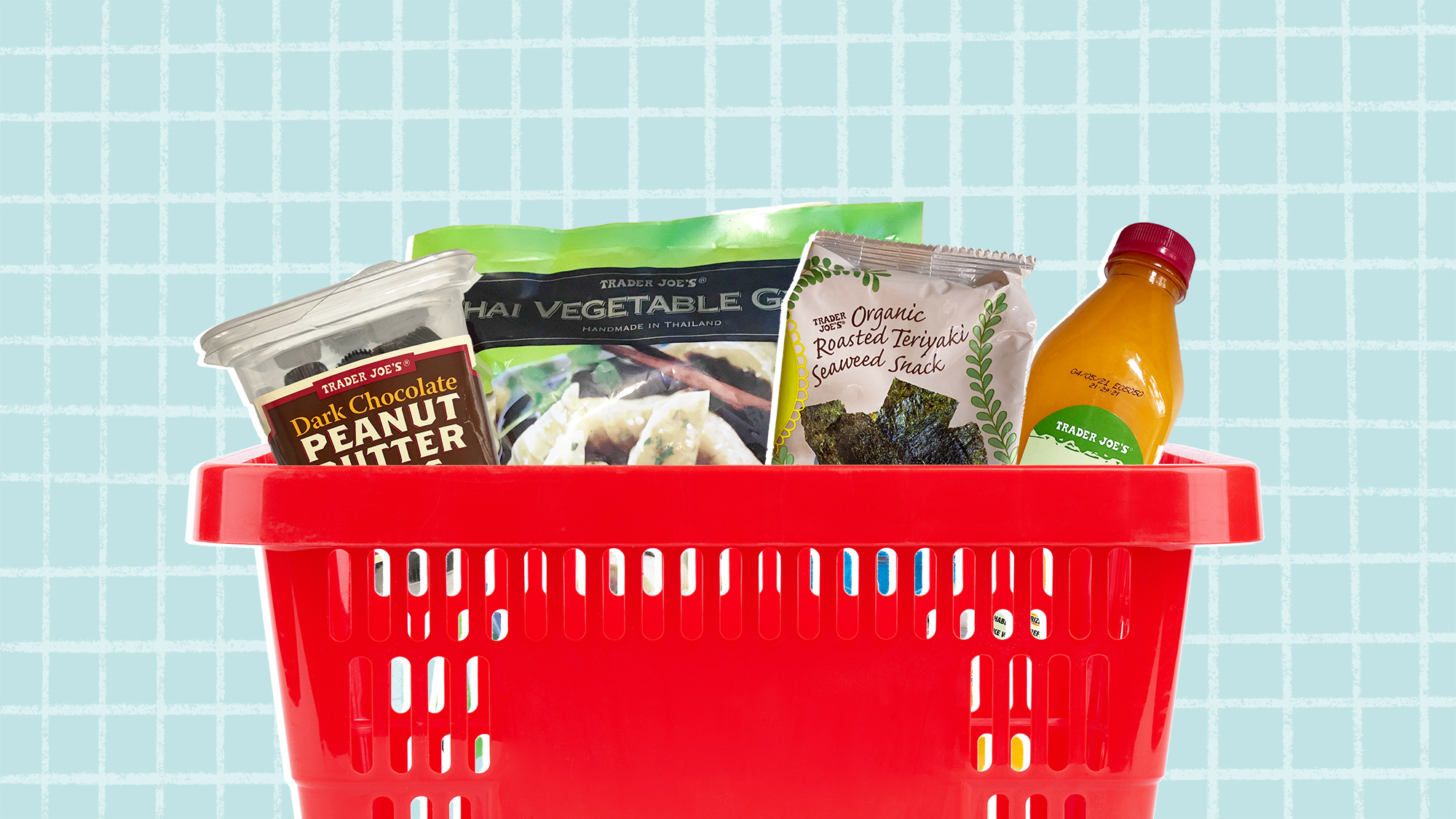 Selection of Trader Joe's products in a shopping basket