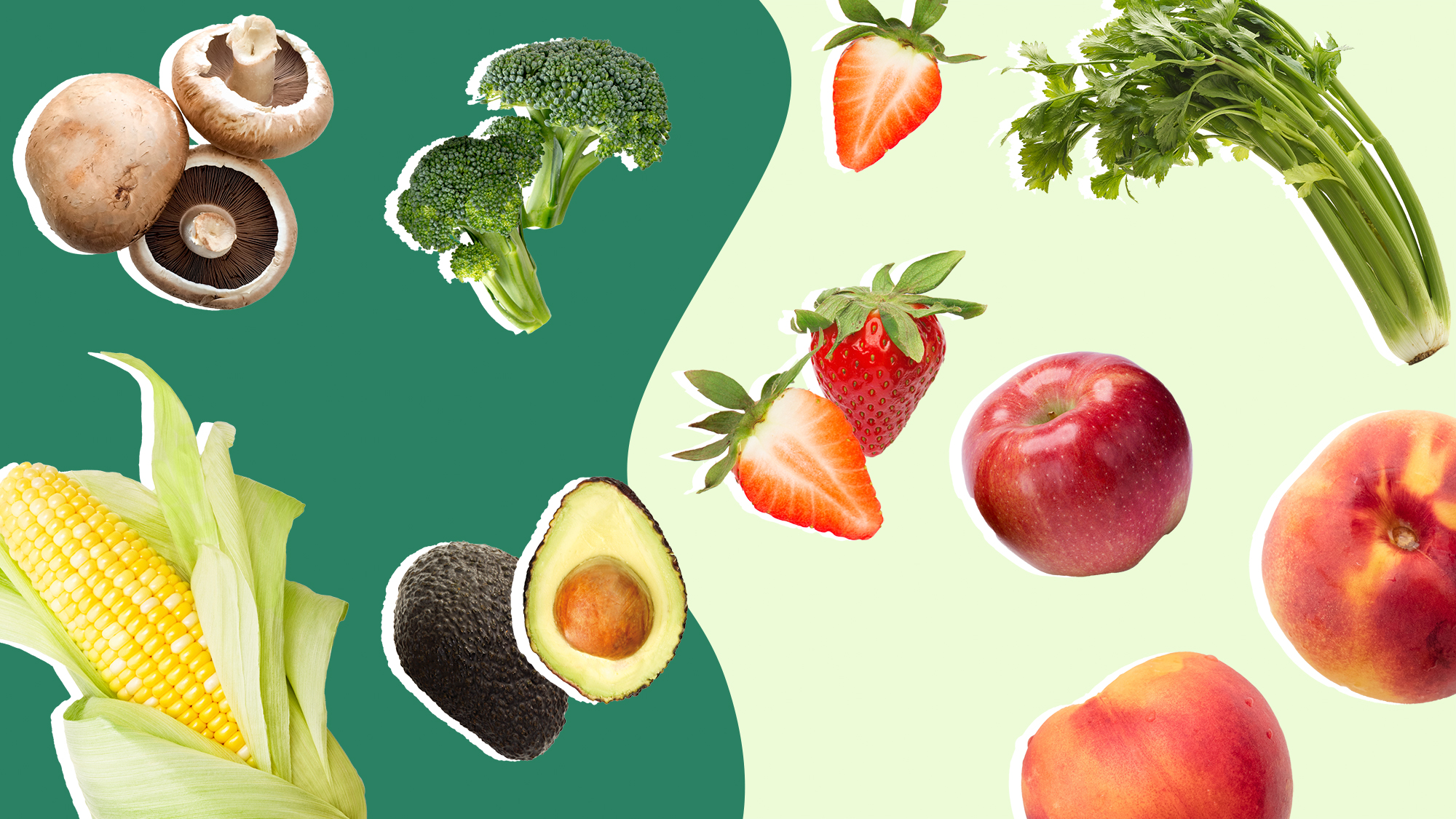 Collage of different fruits and vegetables