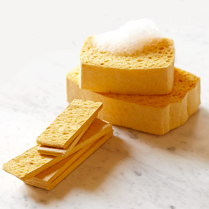 stack of compressed sponges and stack of sponges
