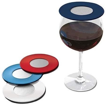 glass of wine and four glass covers