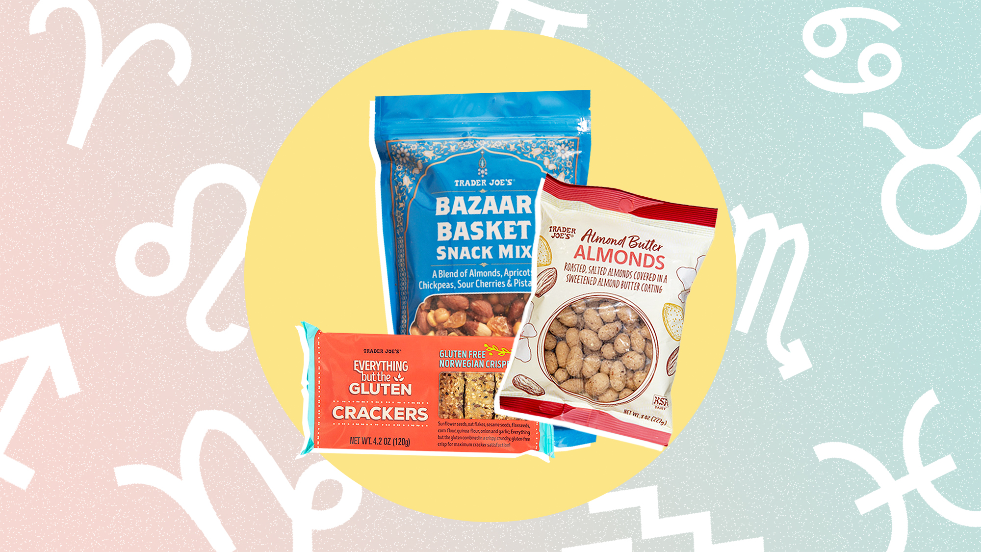 a selection of 4 Trader Joe's snacks on a designed background