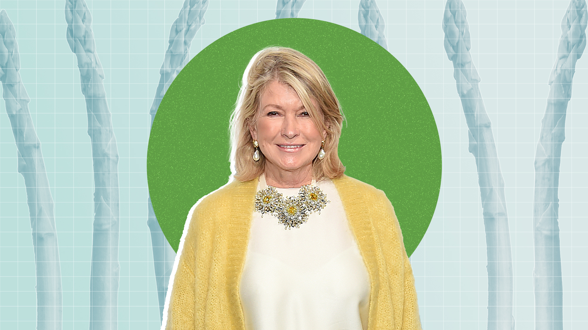 Martha Stewart on a designed background