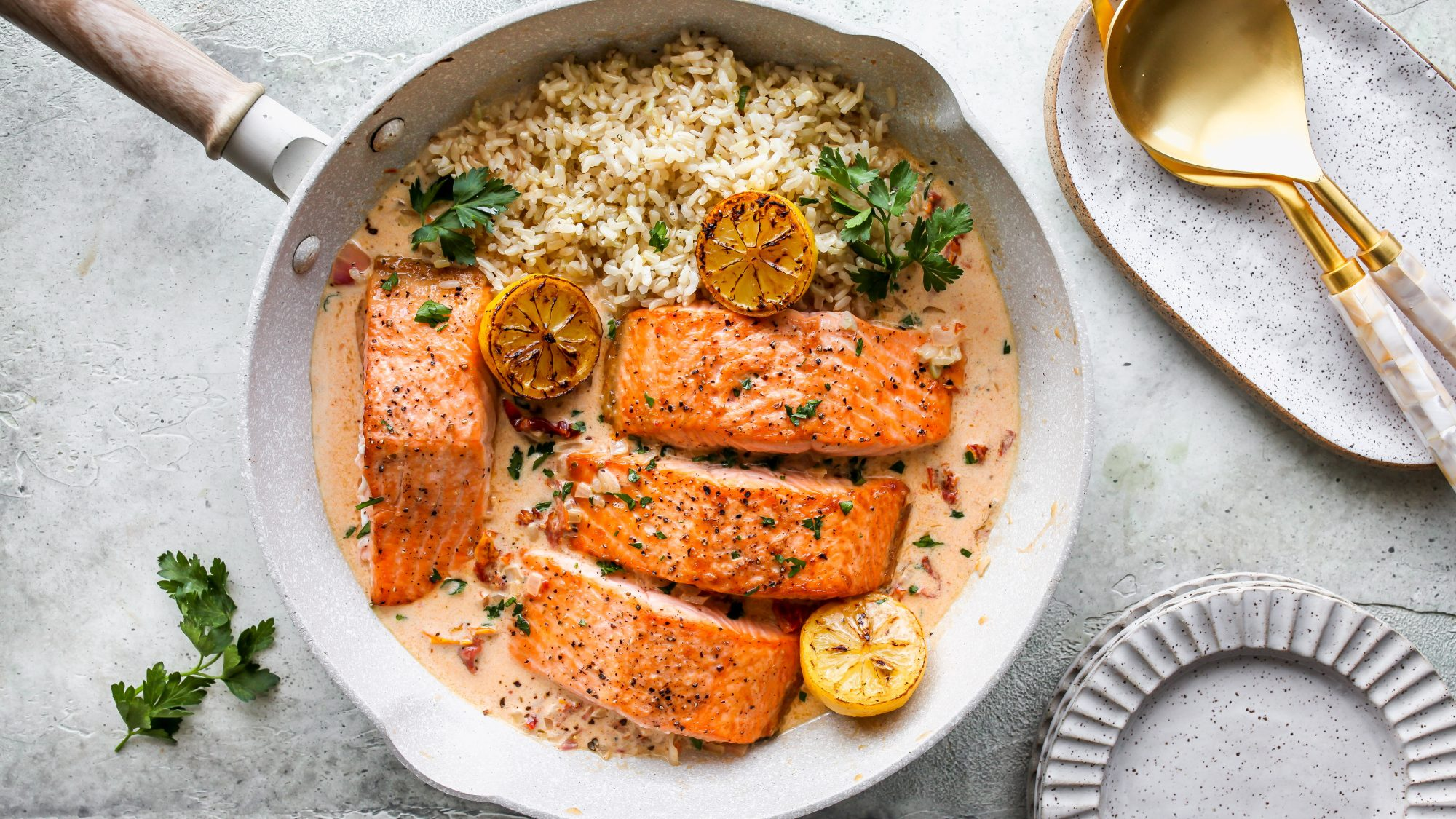 Salmon with Sun-Dried Tomato Cream Sauce