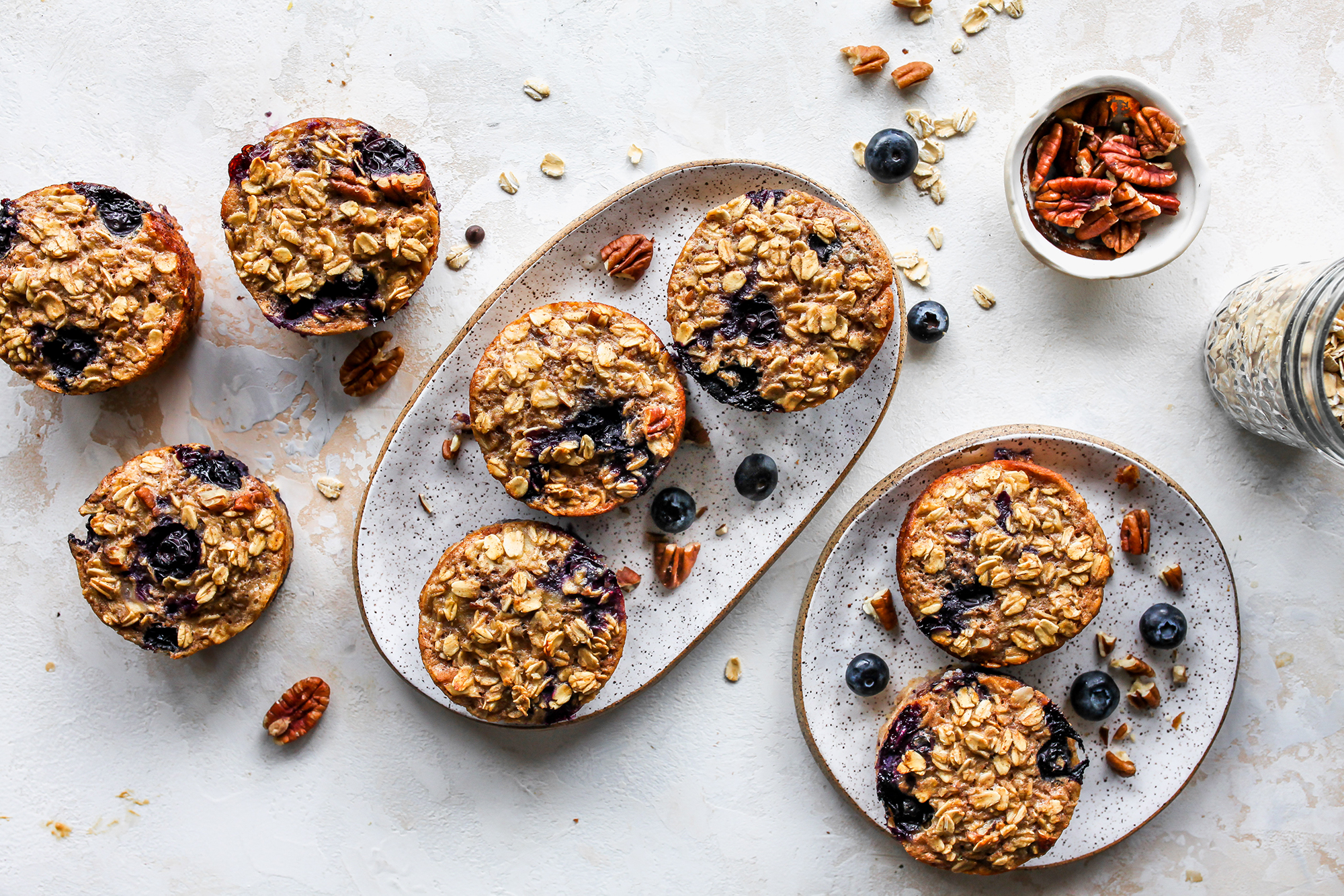 Baked Blueberry & Banana-Nut Oatmeal Cups