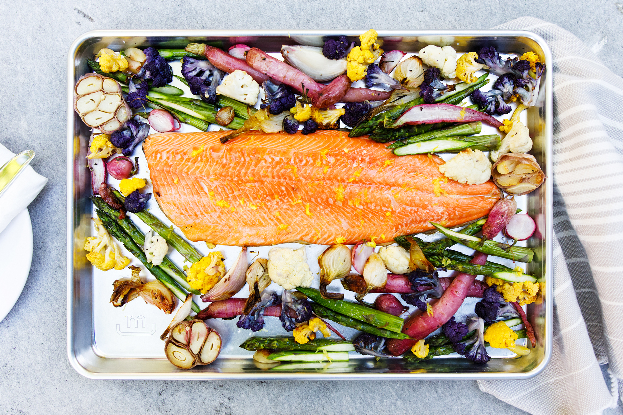Salmon and vegetables on a Made In baking pan