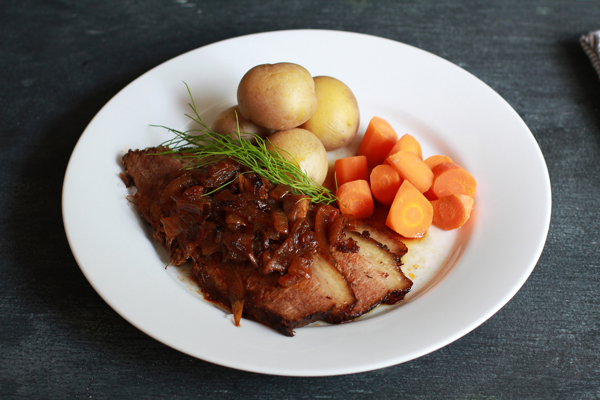 Braised Brisket with Fennel & Onions By Andrew Zimmern