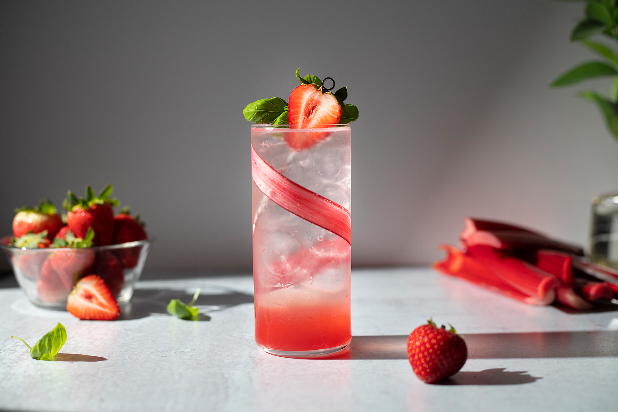 Strawberry-Rhubarb Shrub Cocktail