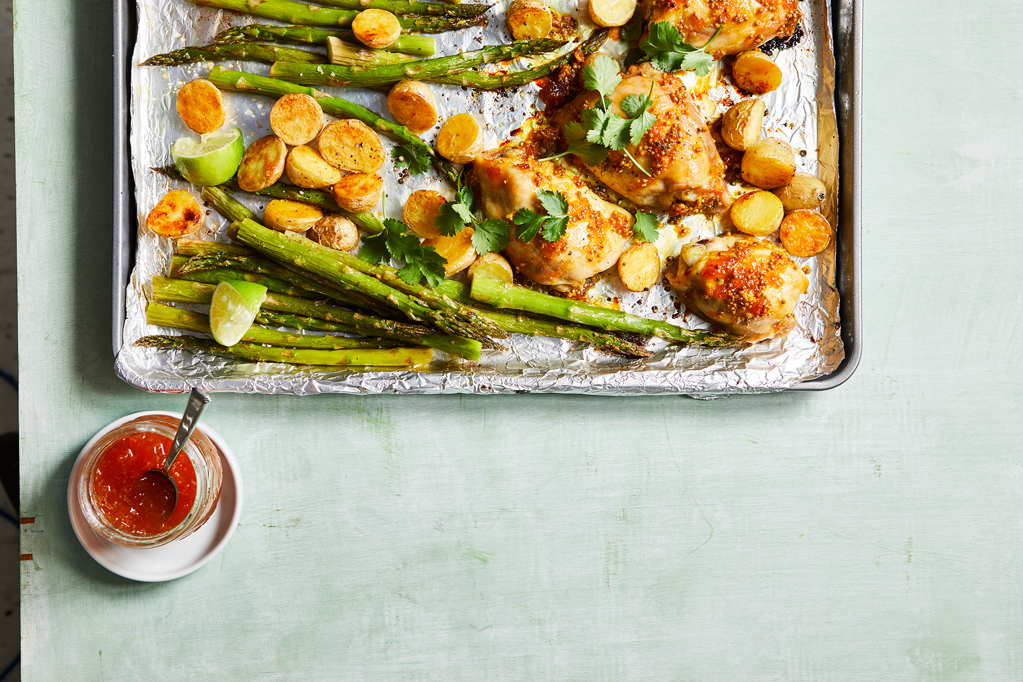 Apricot-Curry Glazed Chicken with Potatoes & Asparagus