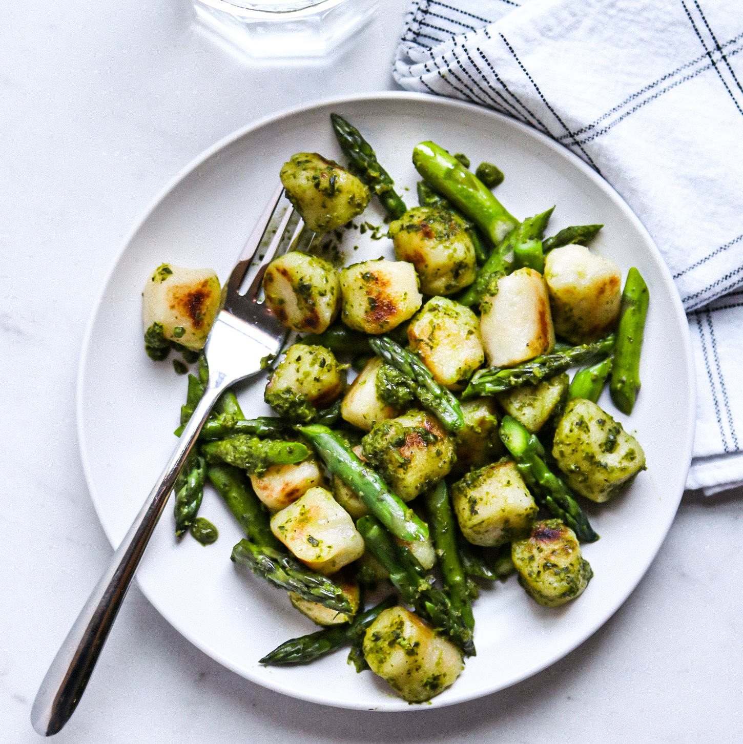 Cauliflower Gnocchi with Asparagus & Pesto