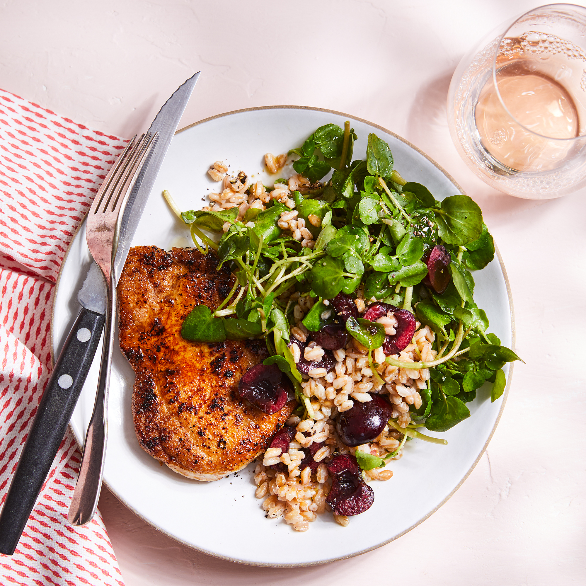 Pork Chops with Cherry, Watercress & Farro Salad