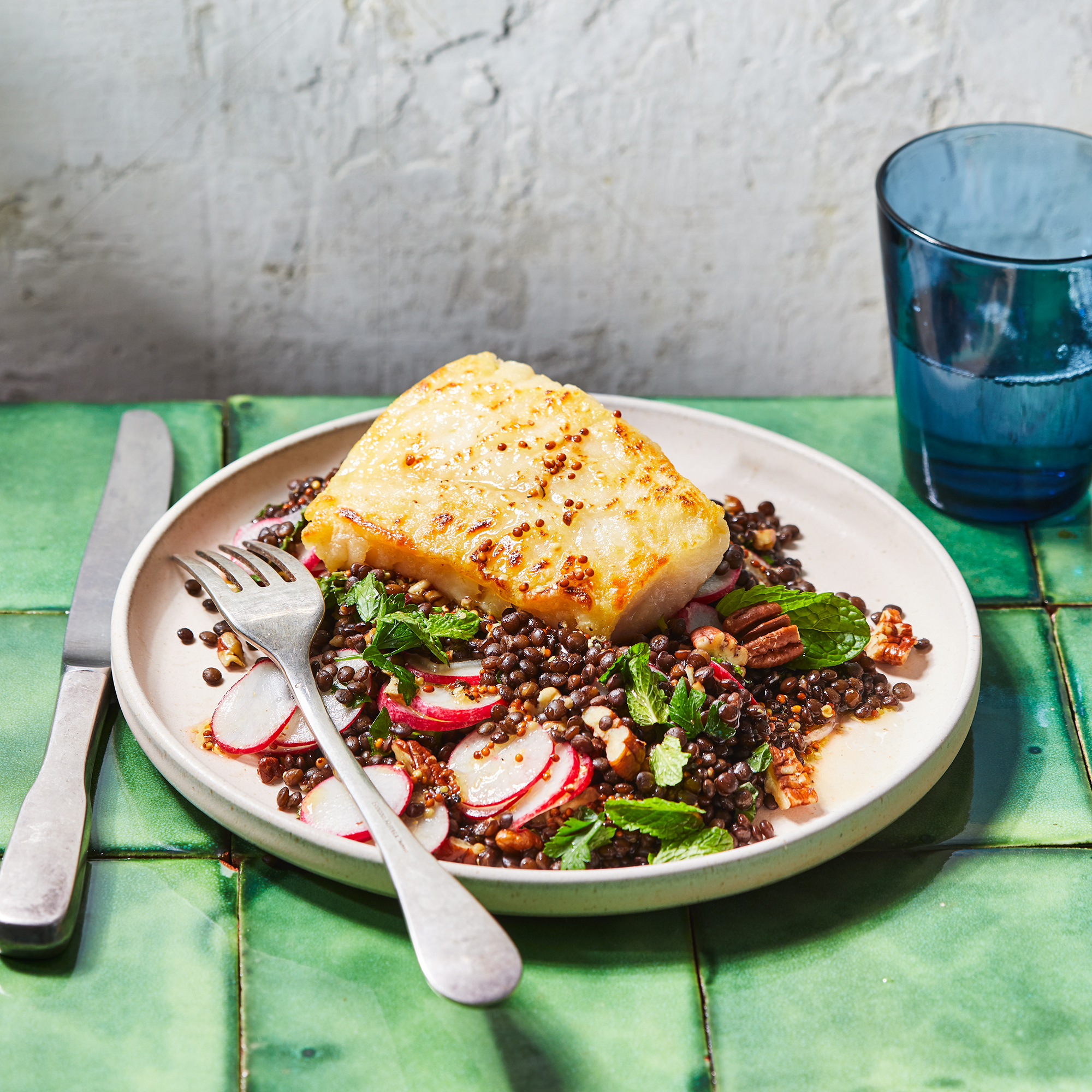 Seared Cod with Radish & Lentil Salad