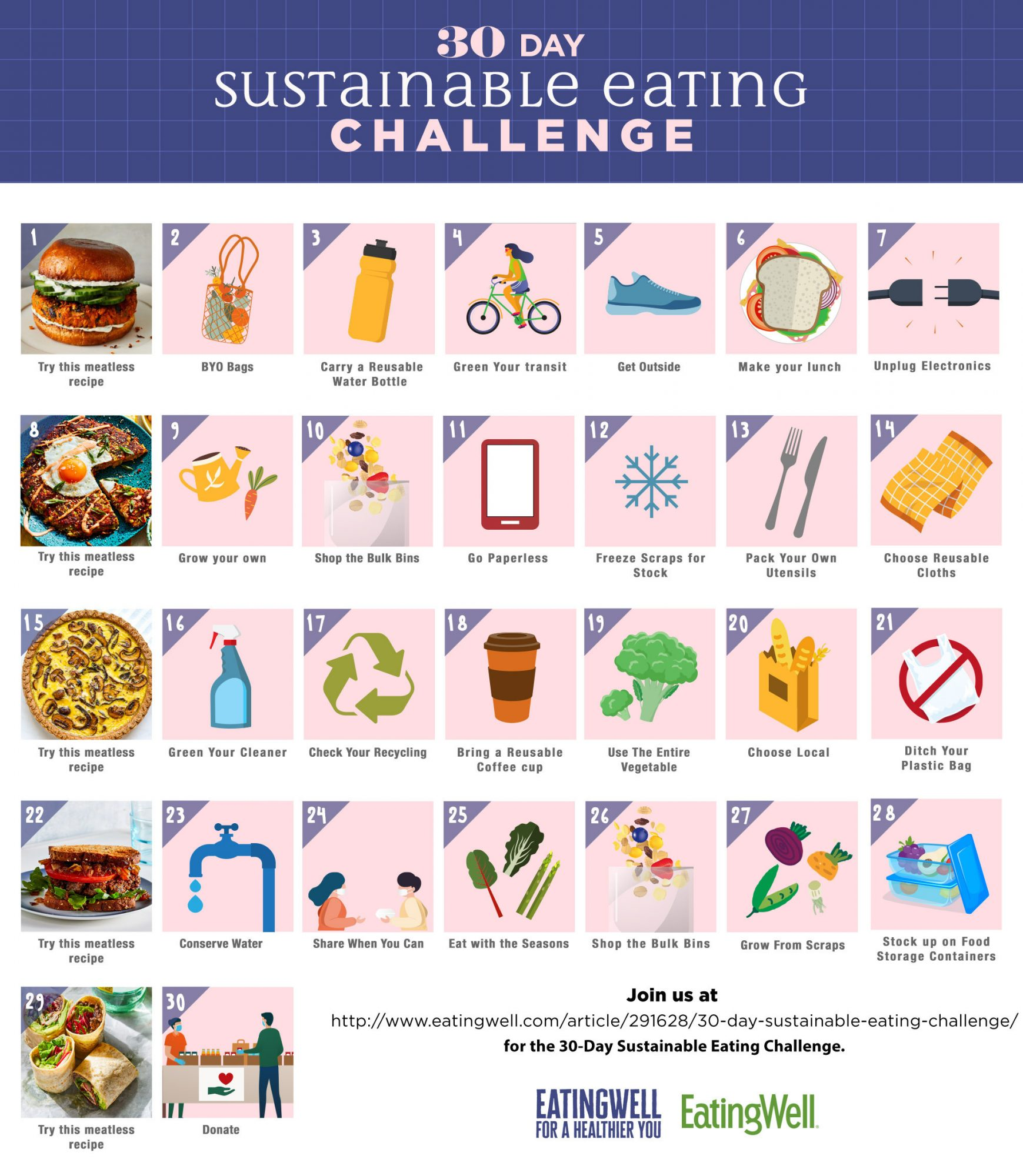 Sustainable Eating Challenge Calendar April 2021
