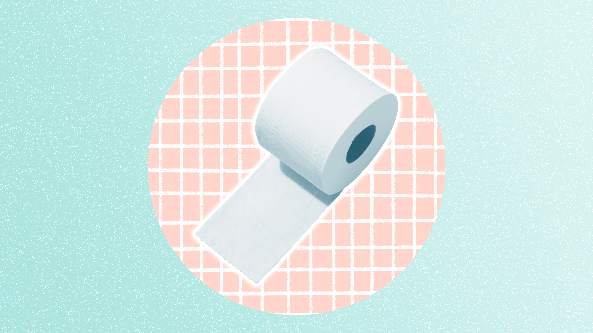 Toilet paper roll on a designed background