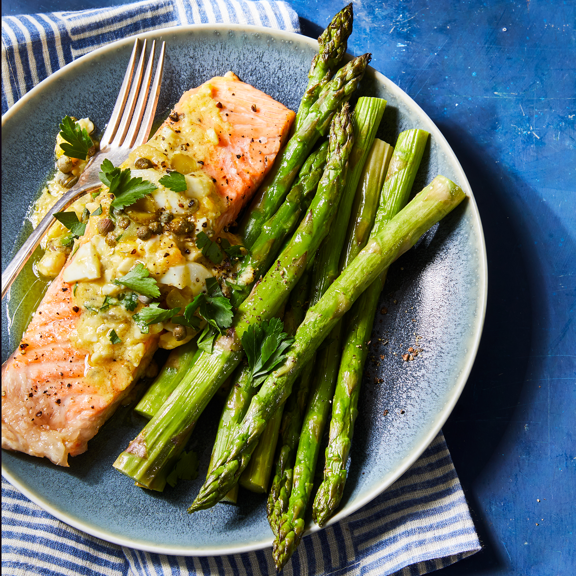 Roasted Salmon & Asparagus with Sauce Gribiche