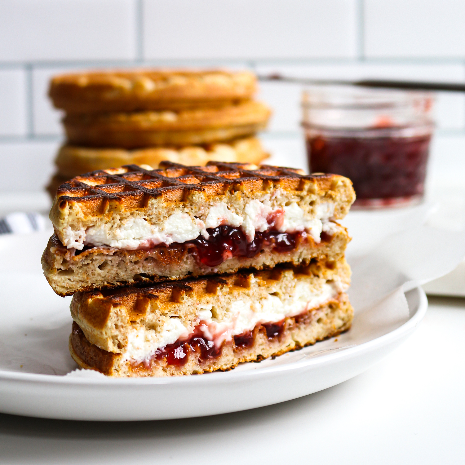 3-ingredient jam and goat cheese waffle breakfast sandwich