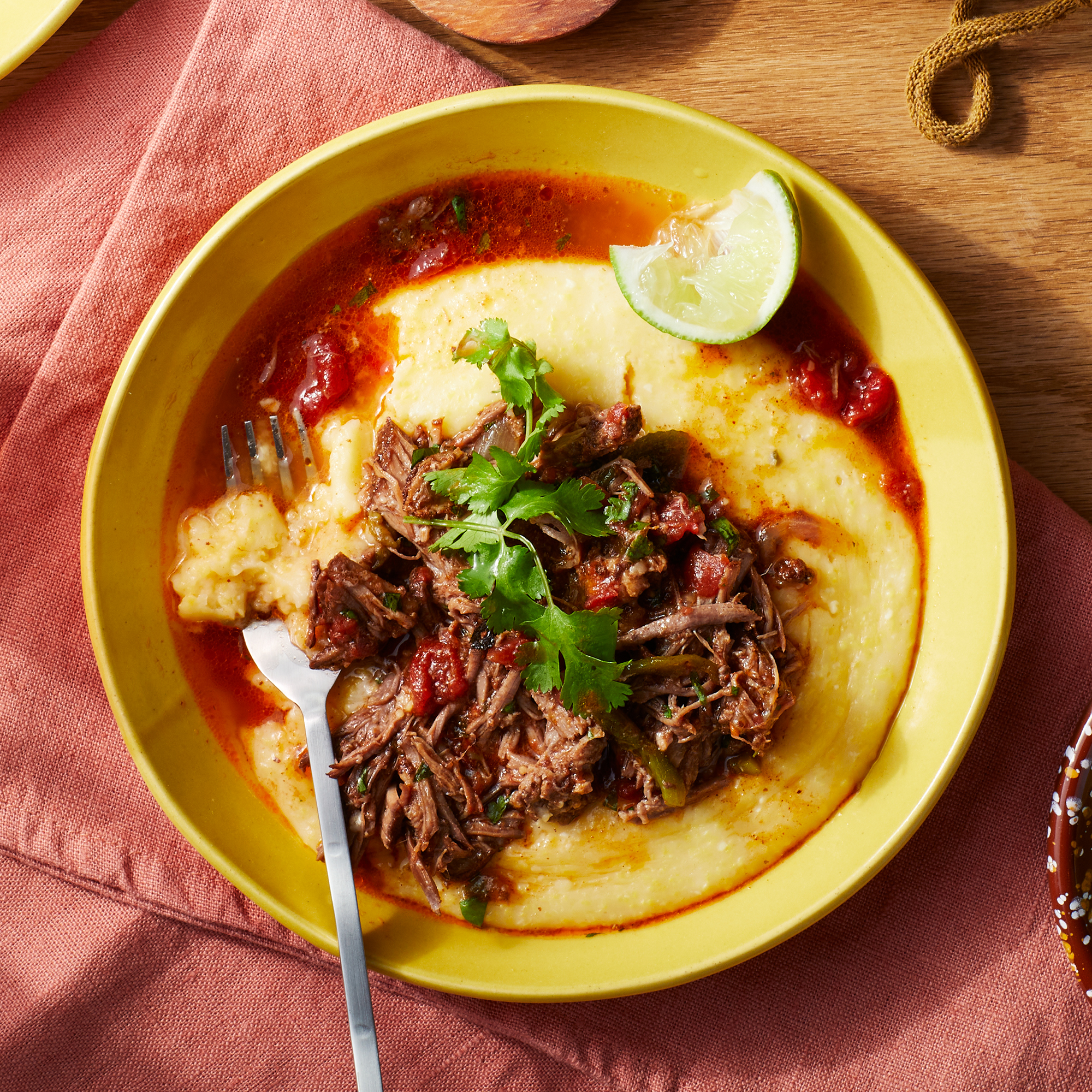 Chile-Spiced Shredded Beef with Cheesy Polenta