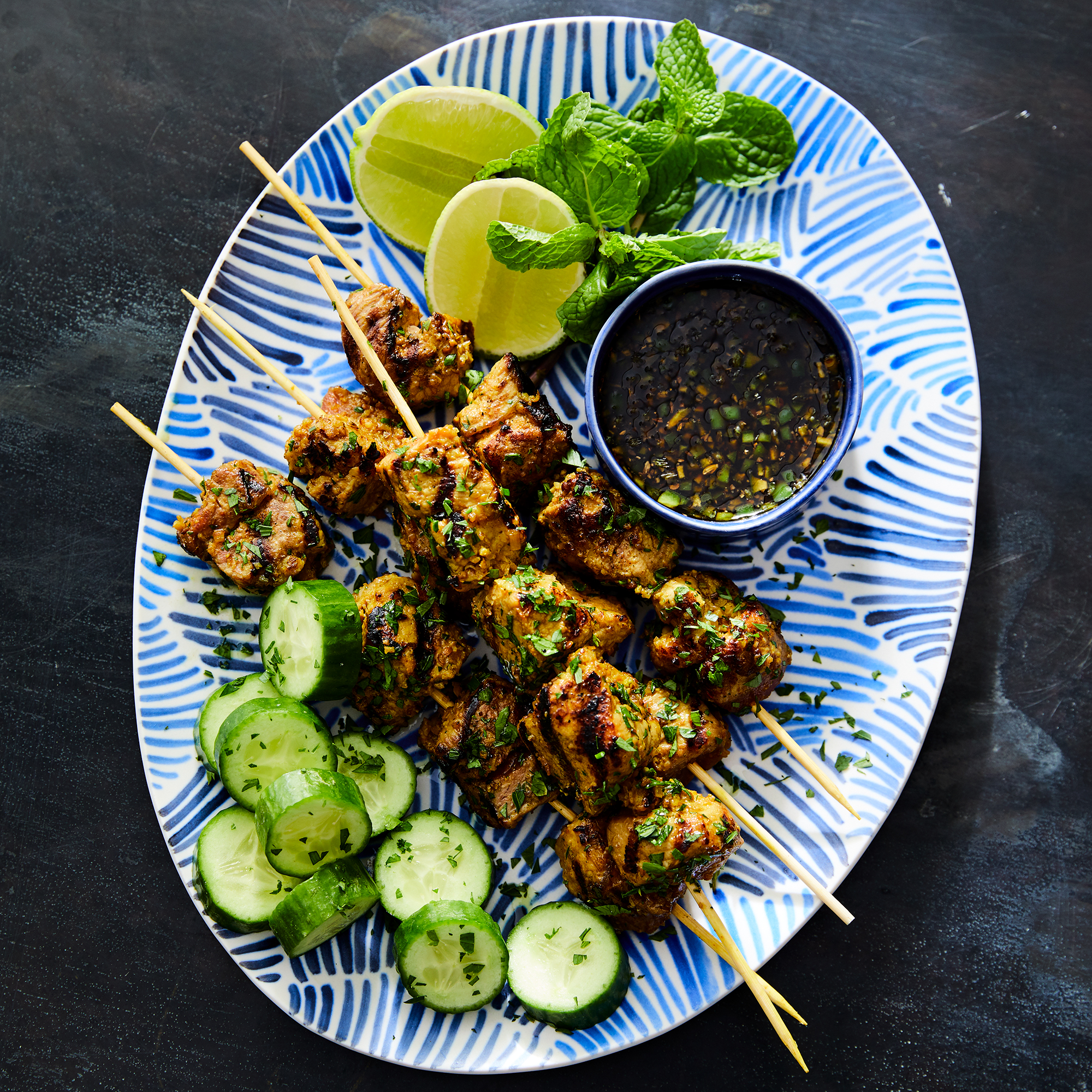 Pork Satay with Spicy Sweet Soy Dipping Sauce