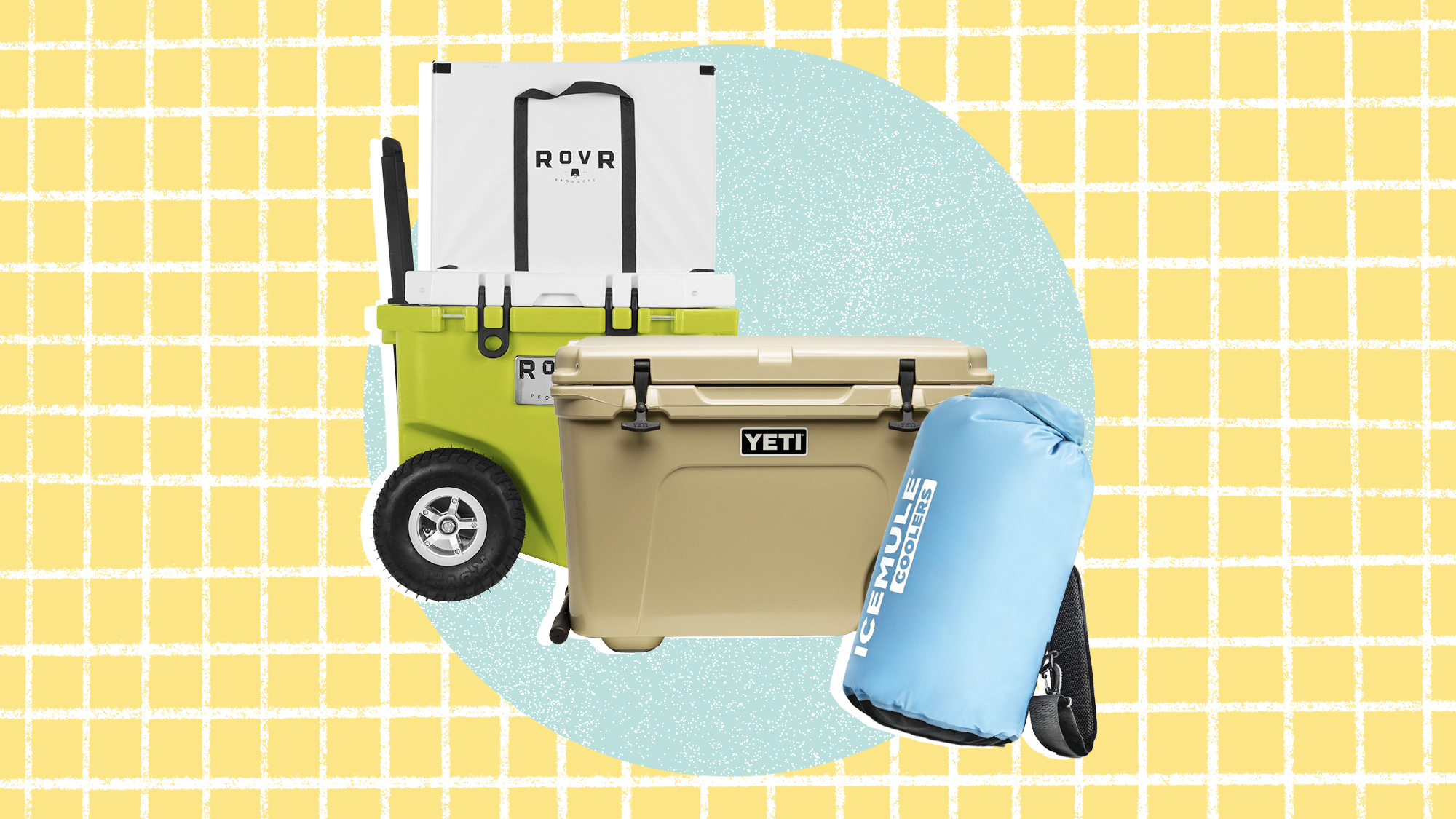 3 coolers on a designed background