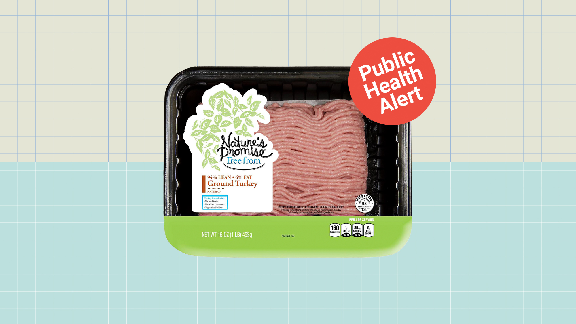 A package of raw ground turkey with a public Health Alert graphic on the top right corner