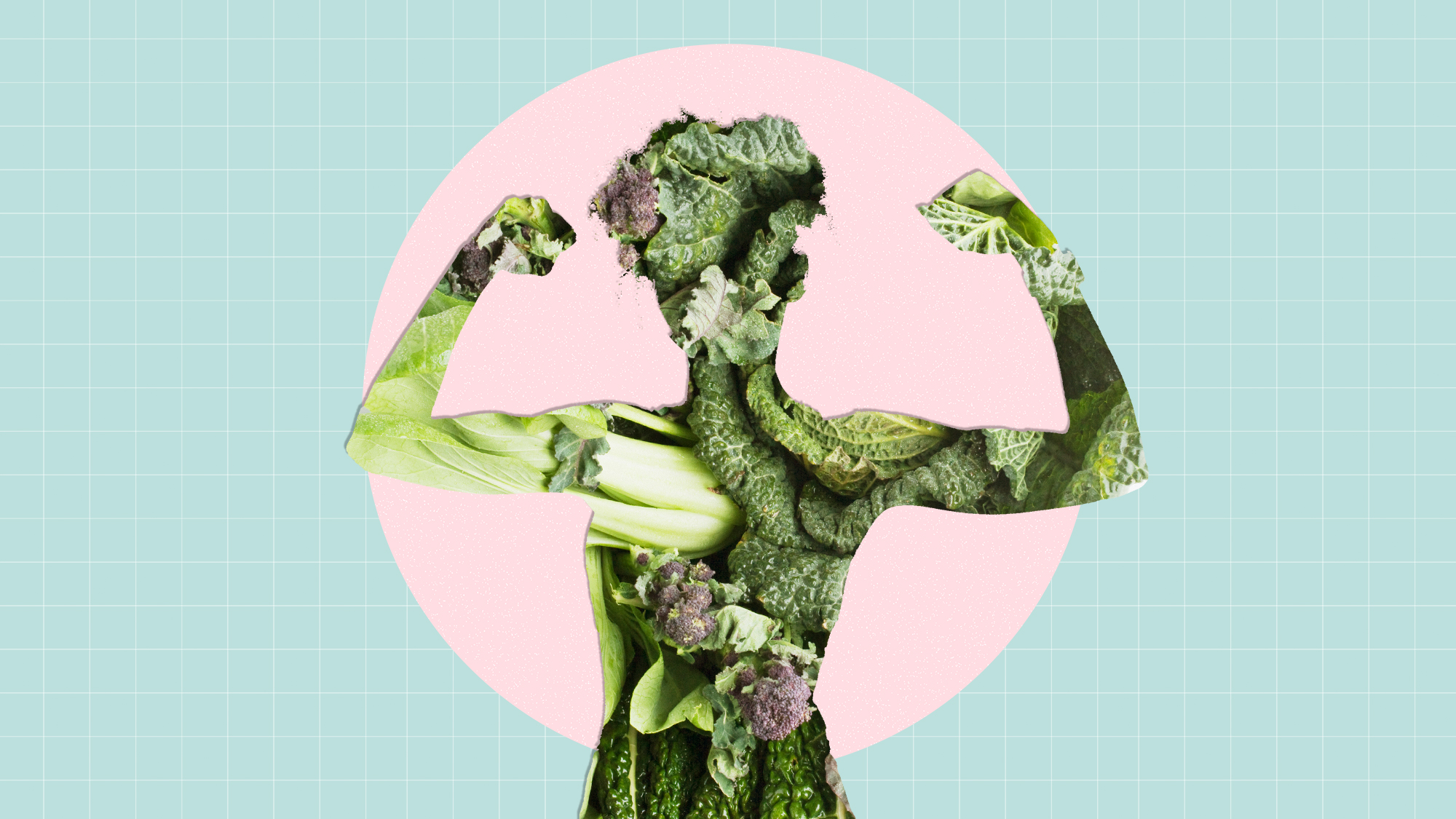a cutout of a woman filled with vegetables