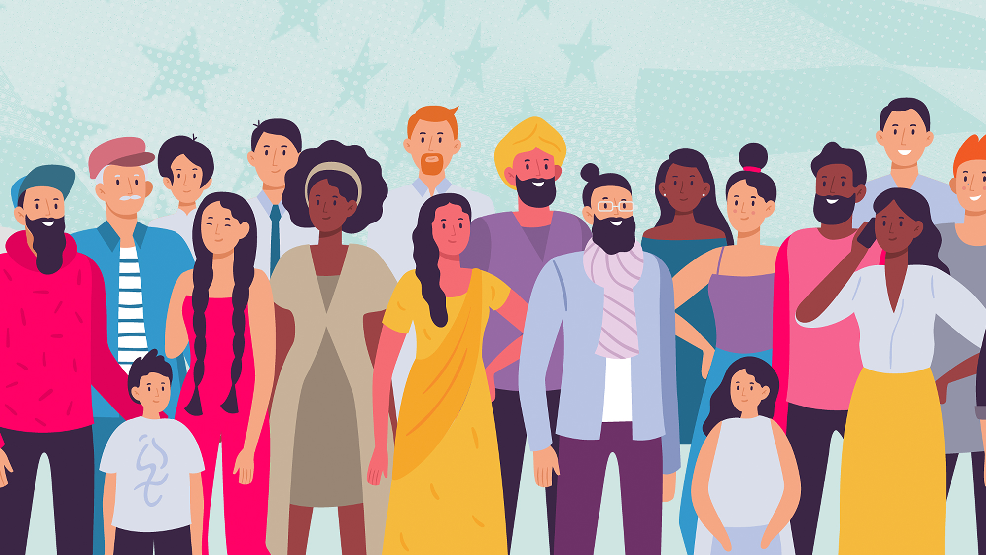 An illustration of a Multiethnic group of people on a designed background