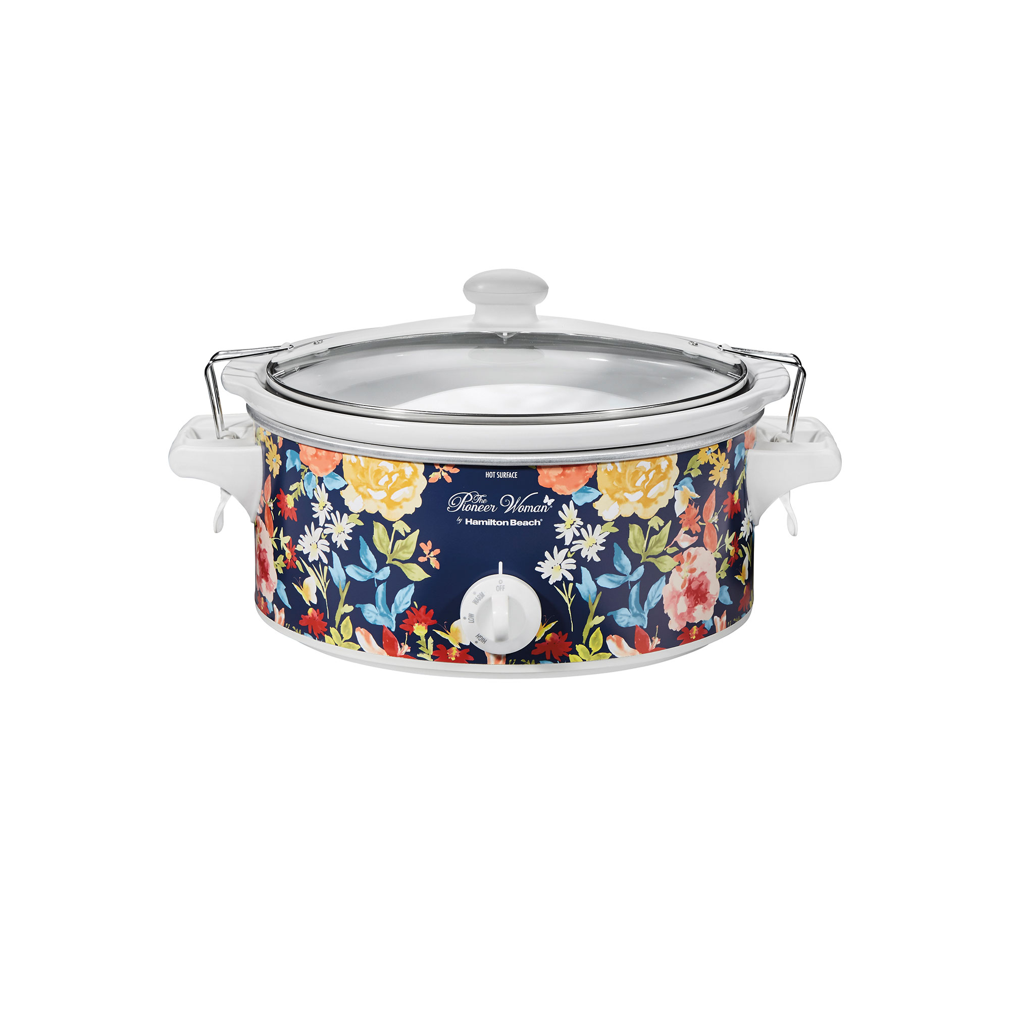 floral patterned slow cooker on a white backgroun