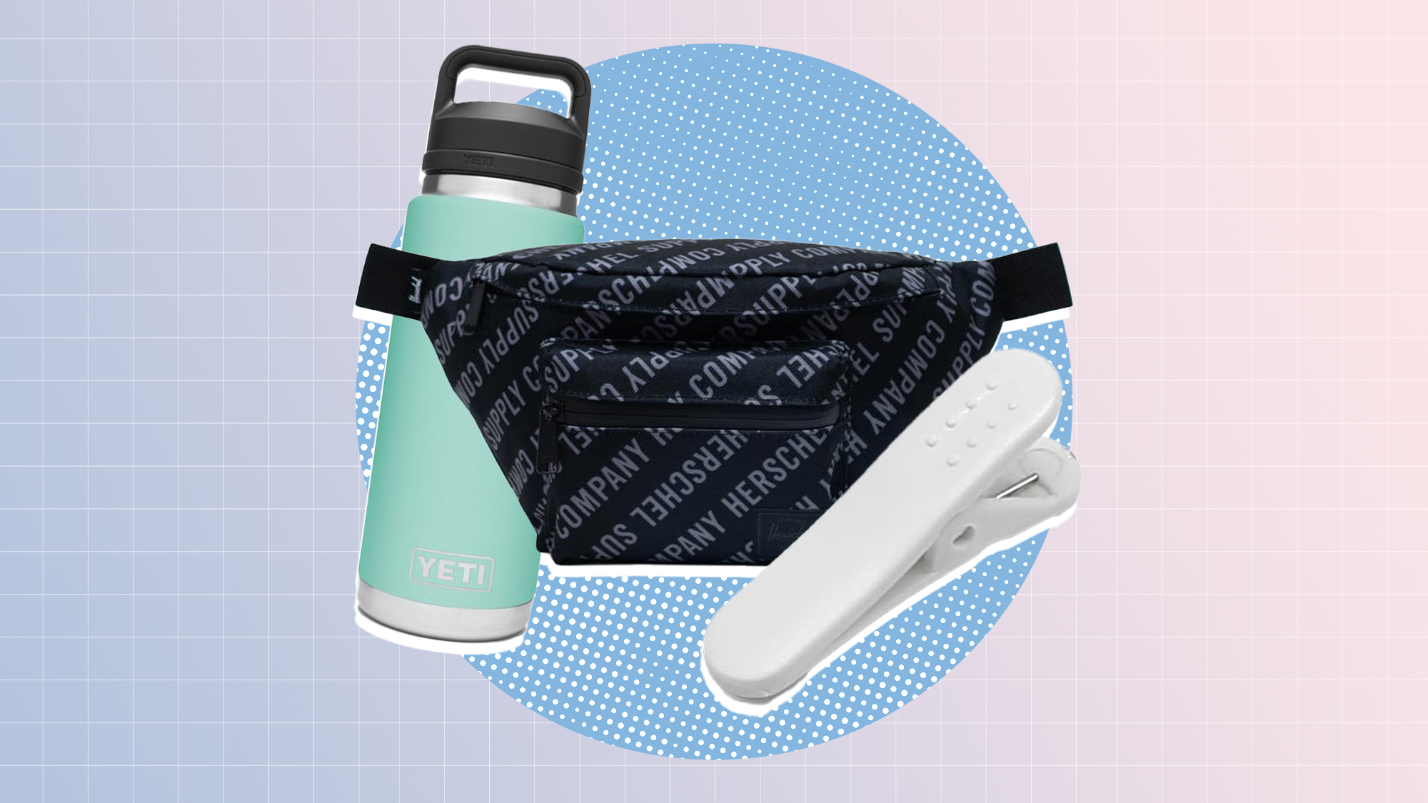 a selection of 3 fitness related items on a designed background