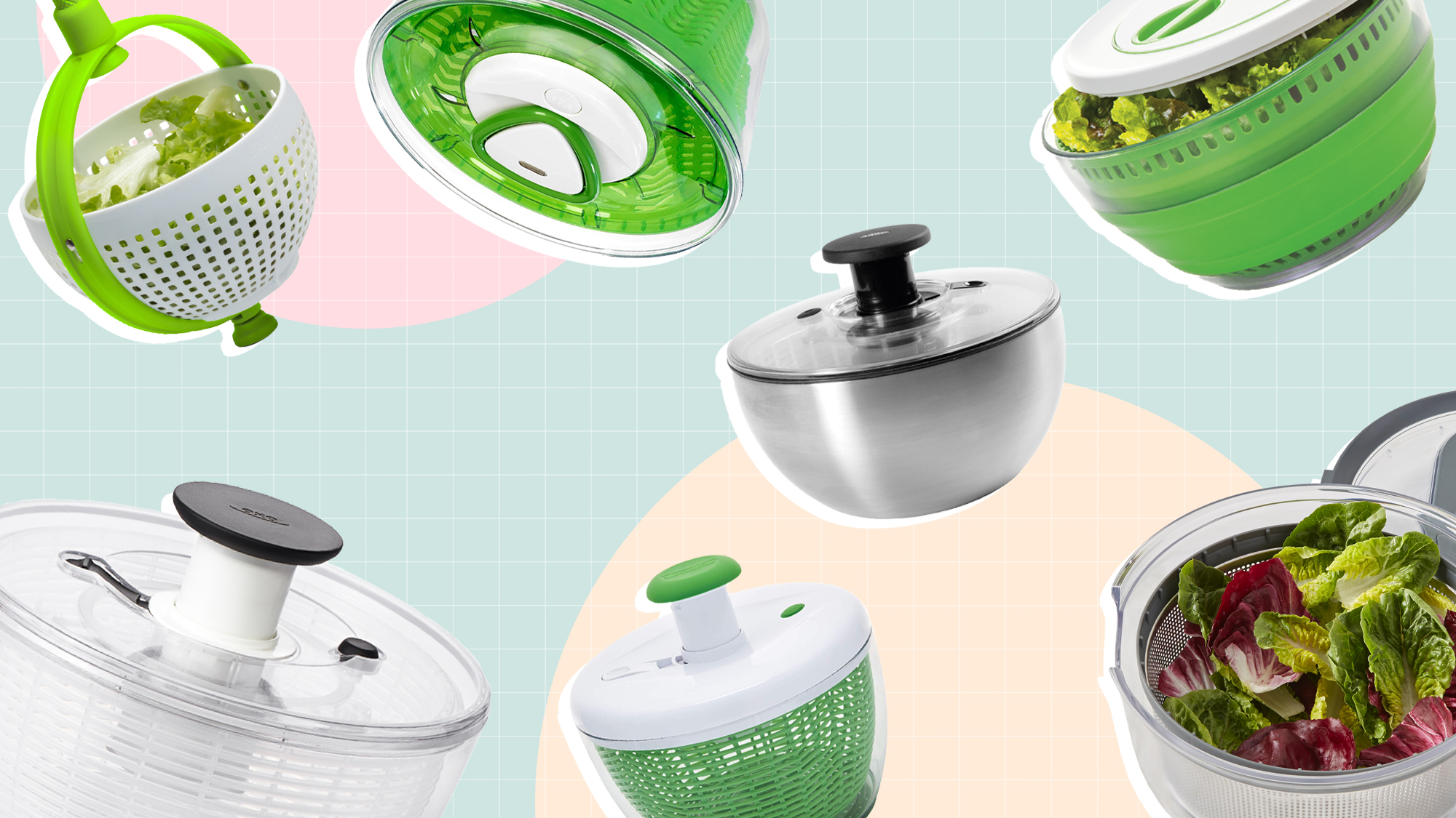 A selection of 7 salad spinners on a designed background