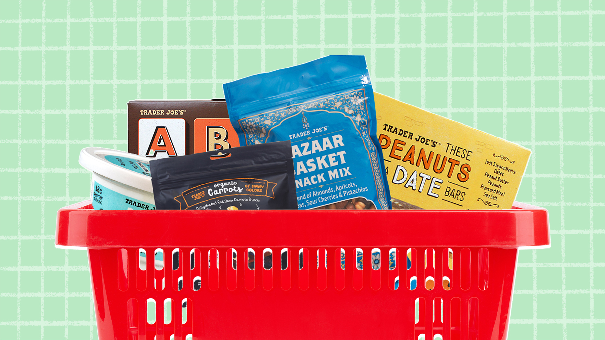 A selection of 5 trader Joe's snacks in a grocery basket