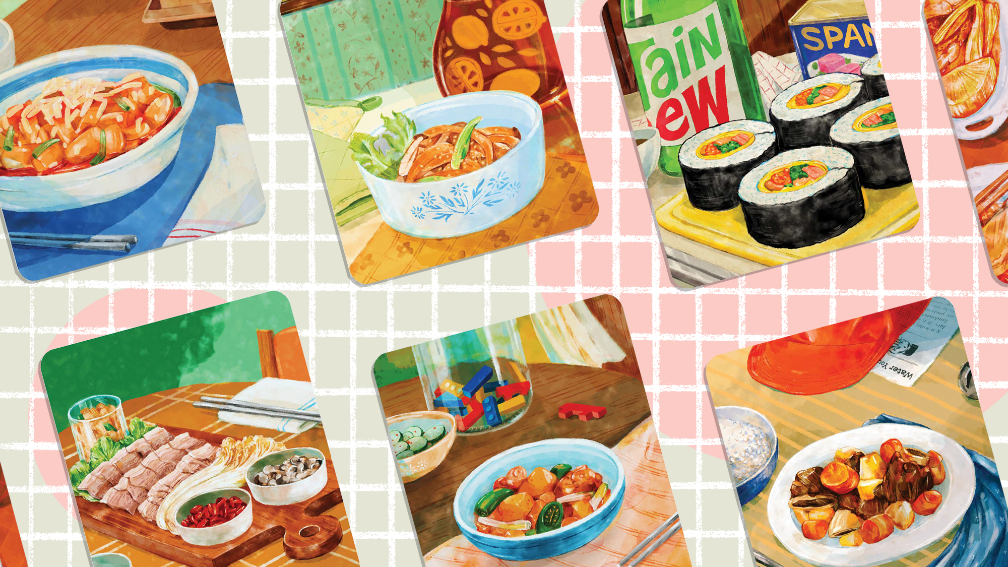 Minari Family Recipe Cards on a designed background