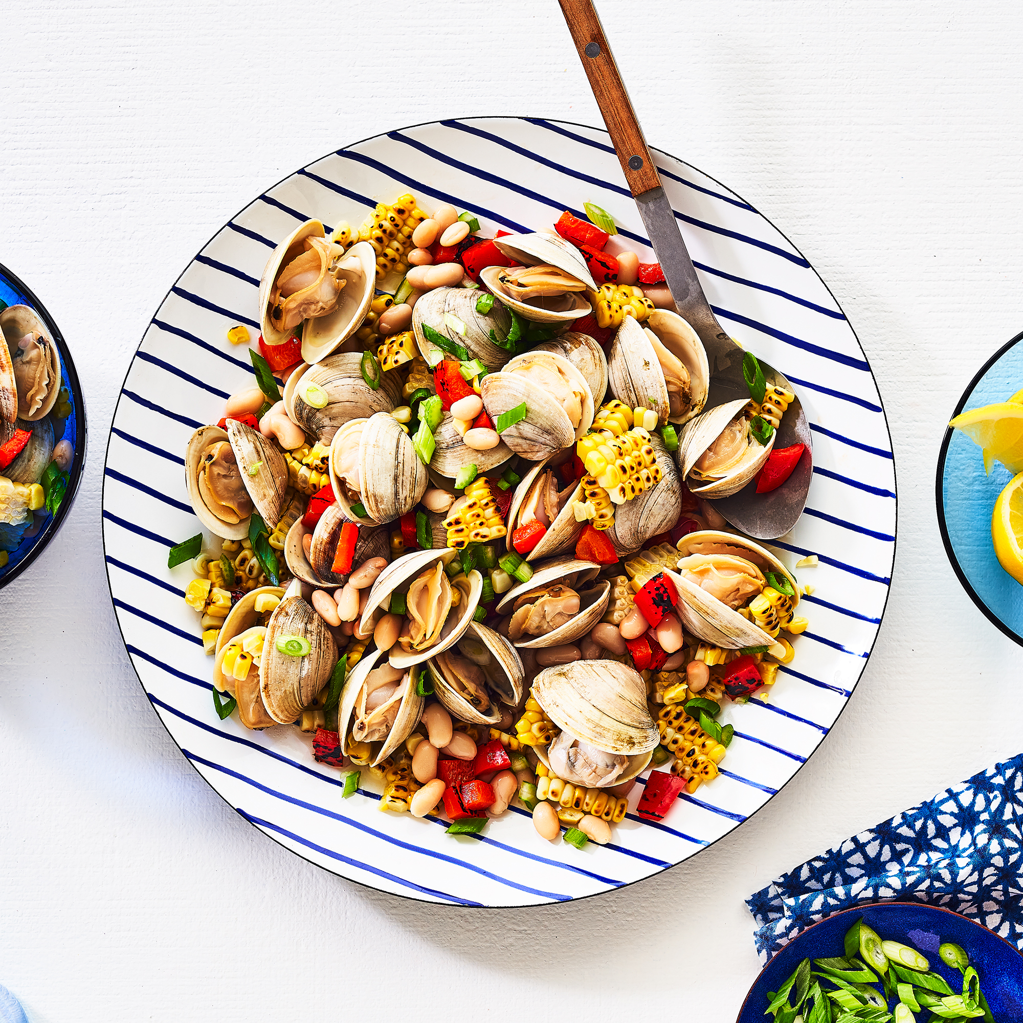 Grilled Clams with Corn & Pepper Relish