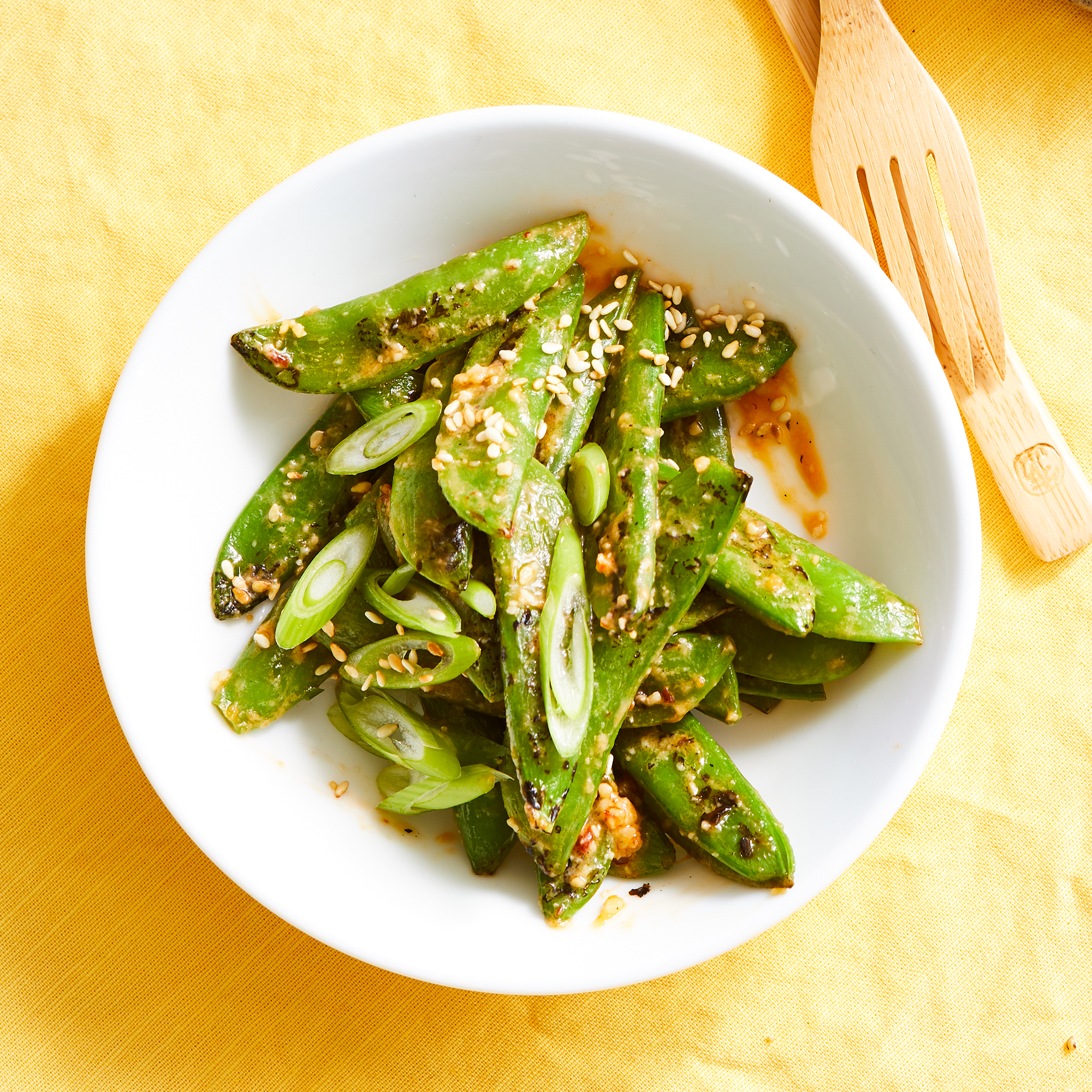 Grilled Snap Peas with Chile-Miso Butter