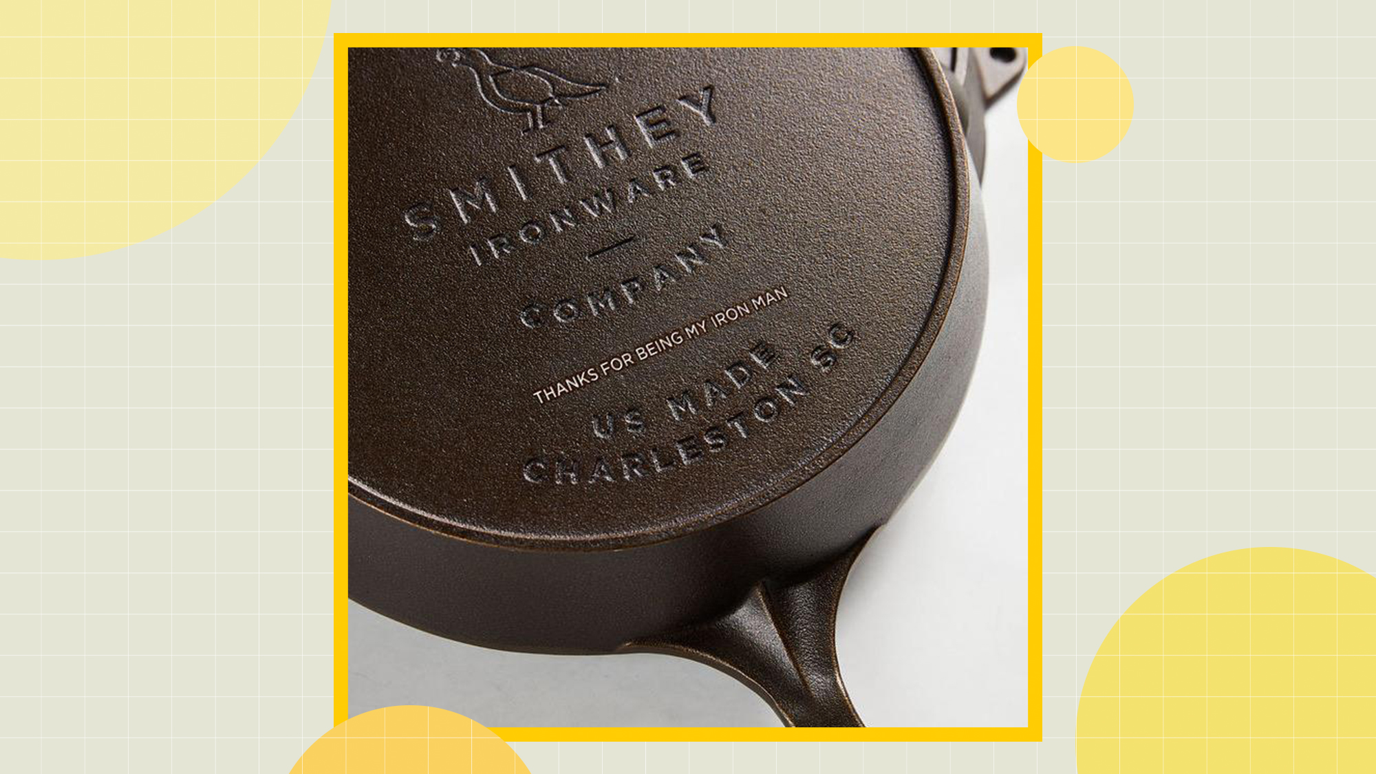 A detail shot of the engraving on a Smithey NO. 10 Cast Iron Skillet