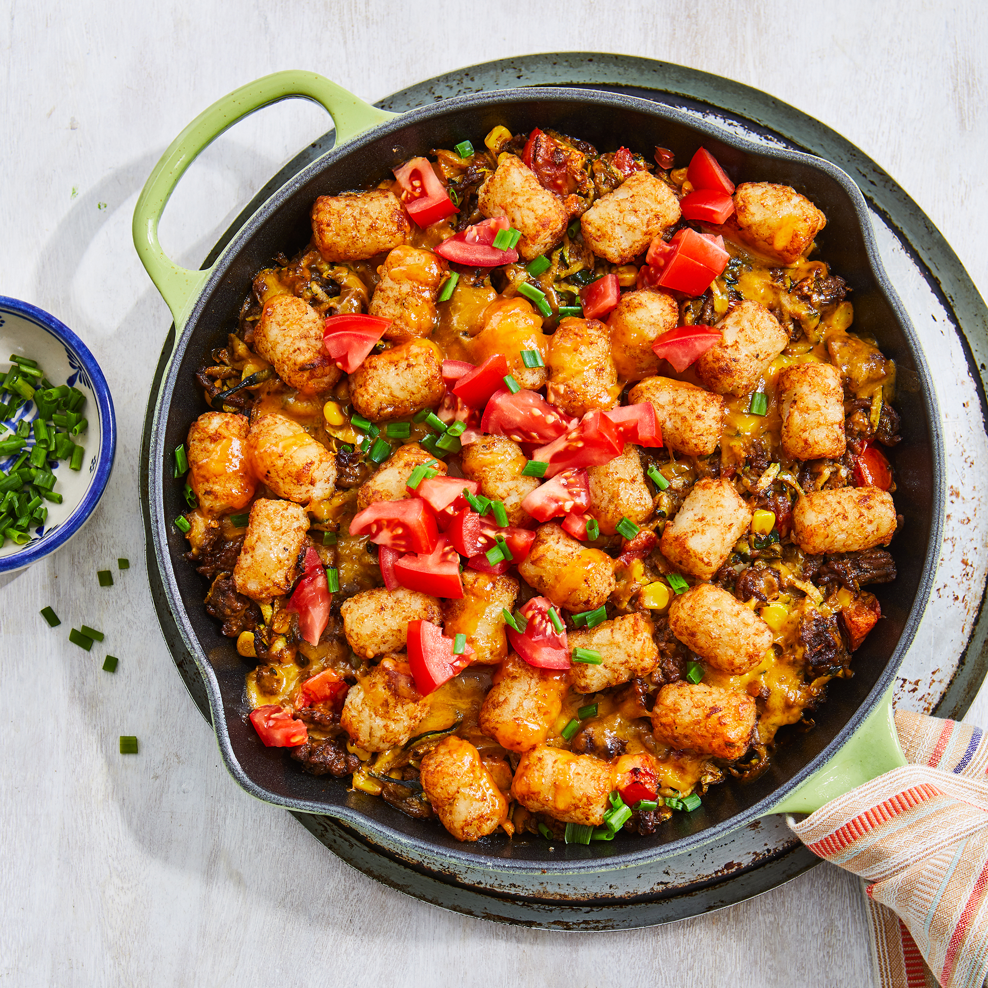 Tater Tot Casserole with Beef, Corn & Zucchini