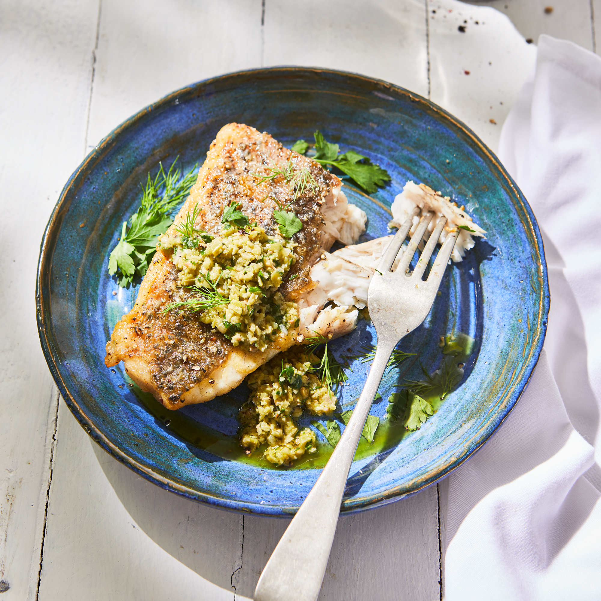 Seared Barramundi with Olive-Herb Sauce