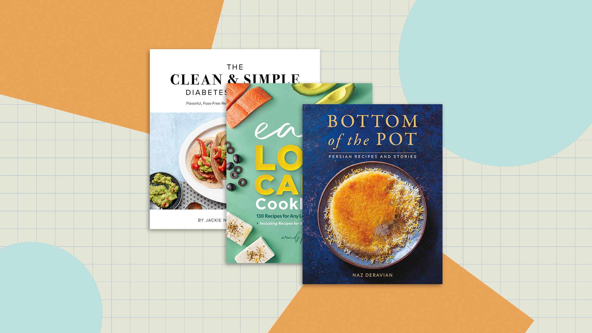 3 cook books on a designed background