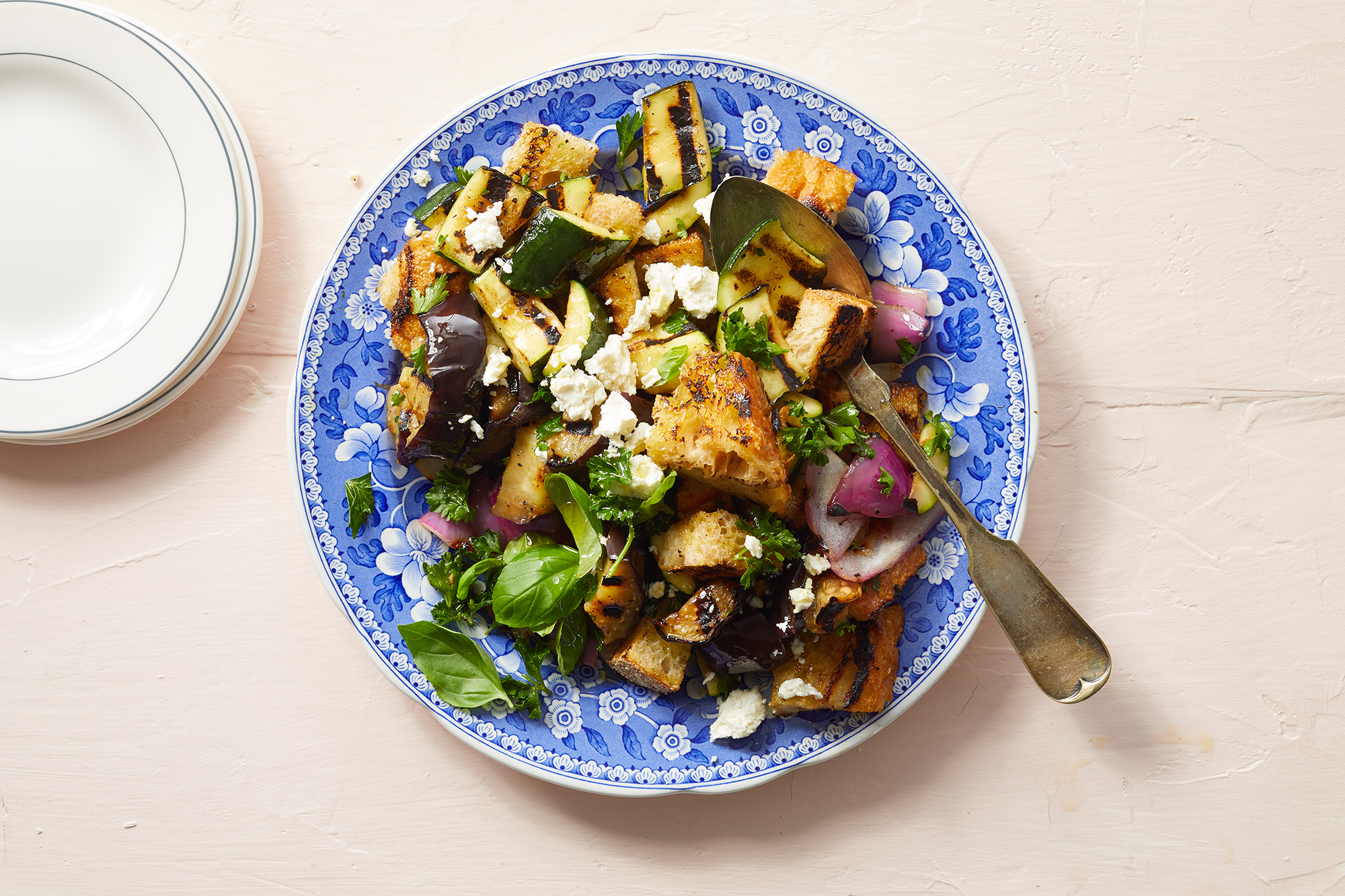 Grilled Summer Vegetable Panzanella with Feta